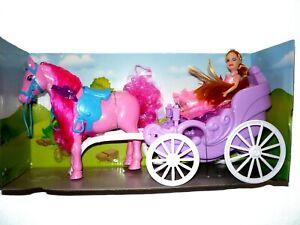 Prinzessinnenkutsche mit pinkem Pferd und Puppe Spielzeugkutsche mit Pferd