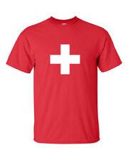 Swiss Switzerland Suisse Flag White Cross Red Cross T-Shirt Tee Men's SizeS-4XL