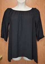 Womens Black Lace Accent NY Collection 3/4 Sleeve Shirt Size 1X NWT NEW