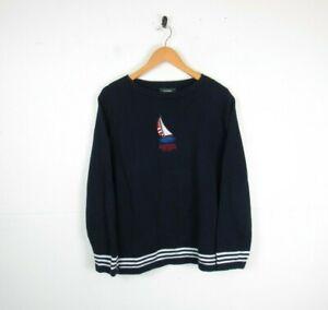 Womens 90s Ralph Lauren Cable Knit Jumper Navy Blue Cotton Round Neck | Medium