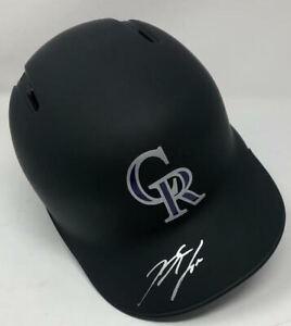 NOLAN ARENADO Autographed Colorado Rockies Black Matte Batting Helmet FANATICS
