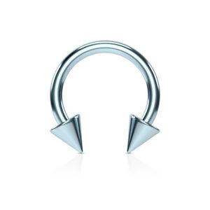 1pc Titanium Spiked Circular Barbell Horseshoe Septum, Eyebrow, Nipple Ring
