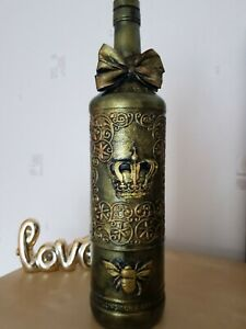 Shabby chic ,vintage, gothic bottle,  decorative glass, handmade,queen bee