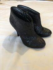 Ladies Next Black Glitter Ankle Boots Size 3.5