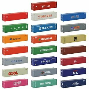 3pcs HO Scale 1:87 40ft Shipping Container 40' Cargo Box Different Road Name