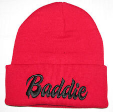 "Red/Black TRENDY COOL HIP CUFFED ""Baddie"" 3D Embroidery  Beanie HAT SKULL CAP"