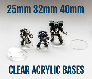 50X 25mm 32mm or 40mm Acrylic Bases for WH40K Space Marine Miniatures