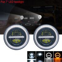 Pair 7inch LED Headlights Hi/Lo Halo Angel Eye for Jeep Wrangler GQ Patrol JK