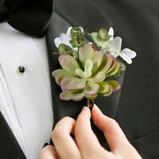 Woodland Succulent Moss Boutonniere, Lillian Rose, Rustic Outdoor