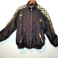 Vintage 80s Windbreaker Womens Black Gold Jacket Sz L