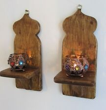 Paire style marocain mur appliques chandeliers & filigrane en or tea light holders