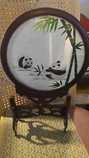 Chinese Hand Embroidered Silk Panda Bear Double Sided Convex Glass Table Screen
