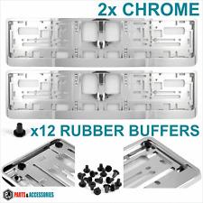 Chrome effet number plate surround x2 support cadre pour toute voiture haute qualité