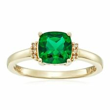 Created Emerald Ring with Diamonds in 10K Gold
