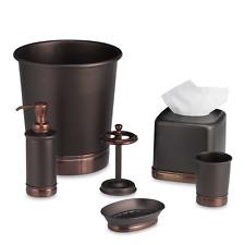 Bronze Restroom Accessory Set Metallic Bathroom Soap Dispenser Dish Tissue Box