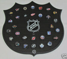 "MINI Hockey Pucks All 30 NHL Teams With Wall Mount Wood Plaque Miniature 15.5"""