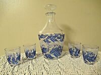 Small VINTAGE Glass Decanter w/ Top + 4 Tiny Glasses   FRANCE  Blue Leaf Pattern