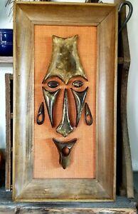 Vintage Large Heavy WITCO (?) TIKI Mask Tribal Face Framed Wood MCM Mid Century