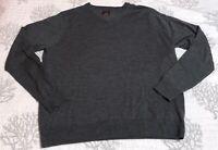 Untuckit Mens V Neck Gray 100% Merino Wool Lightweight Sweater 2XL XXL