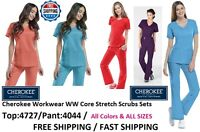Cherokee Workwear WW Core Stretch Scrubs Sets (Top:4727/Pant:4044) All Colors