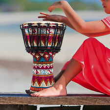 More details for 8 inch djembe african hand drum red goat skin drum head percussion instrument
