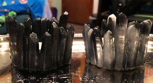 Set of 2 Handmade Epoxy Resin 'Crystal' Tealight Candle Holders ~ Black Glitter
