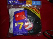 7 Pair Hanes Girls Lightweight Liner Black White Comfort Toe Socks Shoe 10.5-4