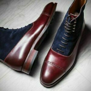 Handmade Men's Genuine Blue Suede Burgundy Leather Toe cap Lace up Ankle Boots