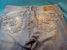 SILVER Camden Rose VERY DISTRESSED HOLES Denim Blue Straight Leg Jeans Sz 26x31