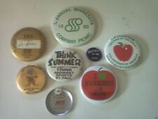 Lot of 8 Vintage Pinback Advertising Slogan Buttons - Seagate, Farmers, Avis