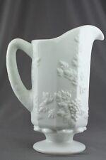 Vintage Milk Glass Westmoreland Paneled Grape Pattern Footed Drink Pitcher