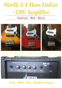 Skwill YF-JB/MINI 3/4 Size 4-String Electric Bass +15W Bass Amp + Padded Gig Bag