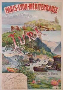 TANCONVILLE OLD POSTER PLM JURA LA FAUGILLE COURS DU DOUBS LES BRENETS cir 1898
