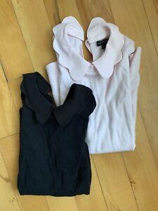 Banana Republic Womens Sleeveless Sweater Top Peter Pan Collar Size XS Lot Of 2!