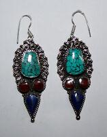 Asian Ethnic handmade tibetan sterling silver earrings turquoise tribal ER39