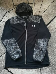 under armour run black grey hooded jacket size M running casual, great condition