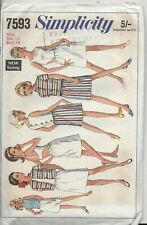 1960s Vintage Simplicity Sewing Pattern:  Misses' unlined jacket & skirt:  7593