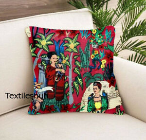 Indian Frida Khalo Print Cushion Cover 24x24 Pillow Case Cover Home Décor Covers