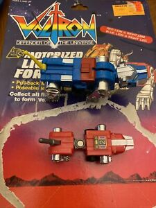 1984 LJN Voltron Motorized Lion Force Red and Blue Lions & Card back