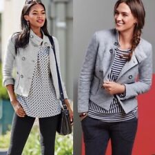 CAbi Quilted Gray Cotton Soft Pea Coat Jacket Style #3182 Small