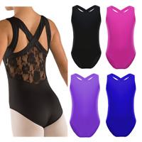 Girls Ballet Tank Leotard Dancewear Kids Gymnastics Lace Unitards Costume 6-12Y
