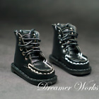 1/4MSD BJD Climbing Shoes Doll Solid Black Round-toe Leather Boots Lace-up DIKA