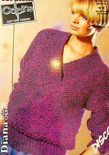 """#177 Lady's Odpins Brushed Chunky Sweater Vintage Knitting Pattern 30-40"""" 76-102"""