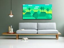 Jade Green Yellow Scenic Landscape Trees Shape Print Canvas Art Abstract Picture