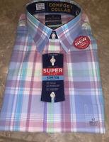 Stafford Men's Comfort Collar Super Dress Shirt Wrinkle Free Size 17 NWT Plaid