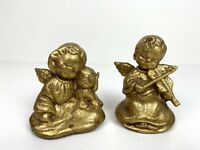 "Lot of 2 Cherub Angel Baby Hugging Dog Figurine & Violin Ceramic Gold Painted 3"""
