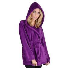 Womens Mini Bathrobe With Hood - Luxury Soft Fleece Dressing Gown Housecoat Plum Medium