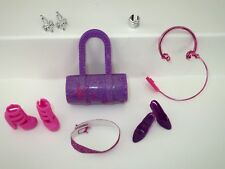 Barbie Accessories-Purple Pink-Shoes-Purse-Belt-IPOD-Earrings--Lot P41