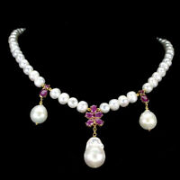 Oval Red Ruby 6x5mm Pearl 14K Yellow Gold Plate 925 Sterling Silver Necklace 19