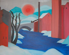 """Original Oil Painting """"THE OLD CANAL"""" on Canvas 18"""" x 14"""" (Art/Picasso/Matisse)"""